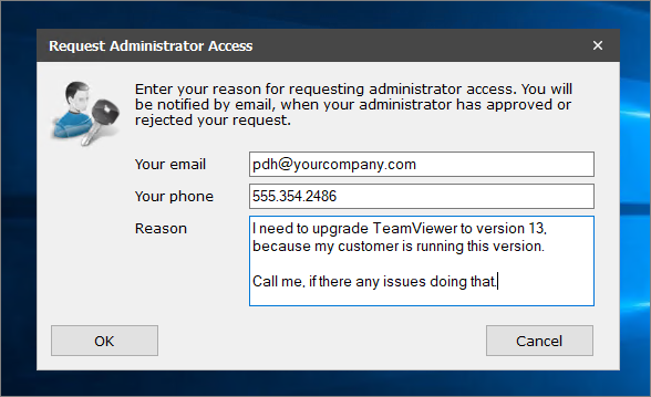 Request Admin right window